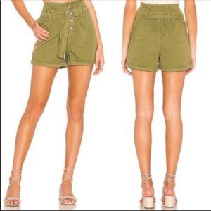 Free People Cindy Utility Green Shorts in Moss NEW